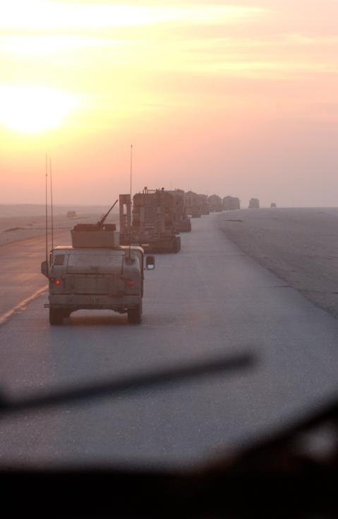 Tillil convoy at dawn.